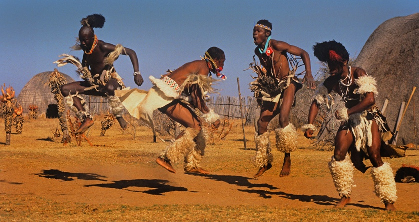 Many African dances involve jumping including ritual dances of the Zulu. In the background are the typical traditional Zulu huts and vegitation (aloes) of the higher regions of Kwazulu Natal, South Africa. Source: Hein Waschefort